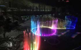贵州六盘水大型旱地音乐激光喷泉施工中