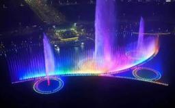 河南双鹤湖喷泉--湖面大型音乐喷泉工程案例